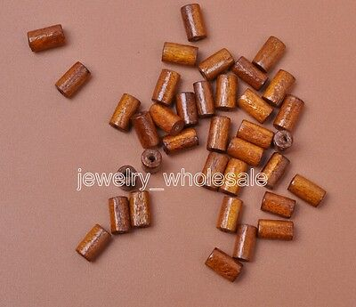 100pcs Light coffee Charms Tube Wood Spacer Beads Jewelry Making 4.5x8mm