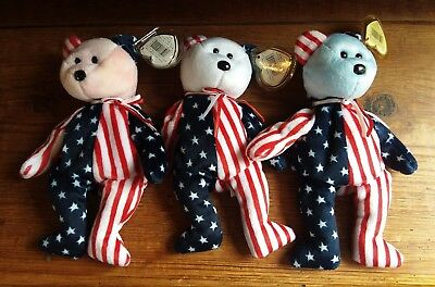 """Lot of 3 Ty Beanie Babies Spangle 8.5"""" Pink White & Blue Face Head Patriotic"""