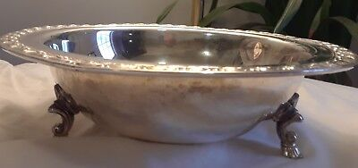 Wm ROGERS 1940 AVON SILVER FOOTED  SERVING bowl TRAY Footed 3654