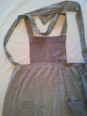 Antique Hand Made and Repaired Two pocket Gingham Blue Bib Apron