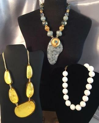 3 Vintage Lucite Bead Necklaces Huge Runway Statement Chunky Pendant Gold Blue