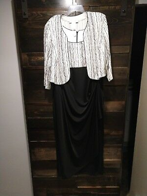 Jeanne Alexander Black & White Mother of Bride Evening Dress 20 W
