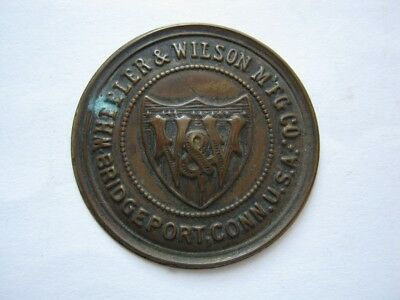 Antique Brass Wheeler & Wilson Sewing Machine Plate Shield Emblem Logo