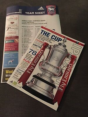 Ipswich Town v Sheffield United Programme / Team Sheet FA Cup 3rd Round 2017/18