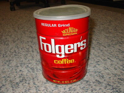 Vintage Folger's Mountain Grown Two Pound Coffee Can with Plastic Lid