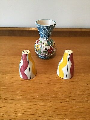 Italian Mid Century Salt And Pepper Shakers With Another Ceramic Vase