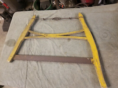 Vintage Antique Hand Wood Buck Bow Cross Cut Saw Harp Logging Farm Classic