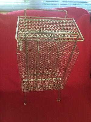 VINTAGE Mid Century Modern Gold Telephone and Telephone Book Stand