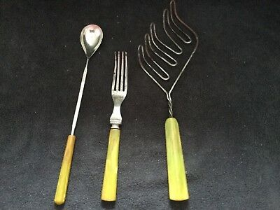 Vintage Lot of 3 Kitchen Utensils Green Marble Bakelite Beater Whip, Fork, Spoon
