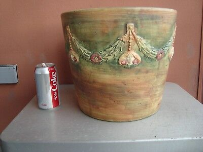 "Weller Flemish 10"" by 11.5"" Jardiniere With Nouveau Woman Cameo Garland"