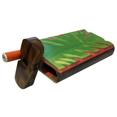 """4"""" Carved Wood Swivel Cap Dugout - Green/Pink"""