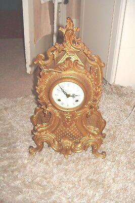 FHS ITALY IMPERIAL STYLE BRASS MANTEL CLOCK by Franz Hermle ORIGINAL KEY 2 BELL
