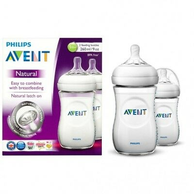 Philips AVENT Natural Baby 2 Feeding Milk Bottles BPA Free 9oz 1m+ # 286056