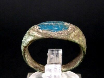 GORGEOUS ROMAN BRONZE RING  w/ BEAUTIFUL BLUE STONE+++TOP CONDITION+++