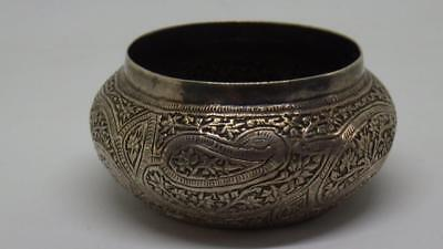 Antique Indian Persian or Asian Sterling Silver Small Chased Bowl 52g