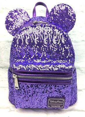 Disney Parks Purple Potion Sequined Minnie ears Mini Backpack by Loungefly (NEW)