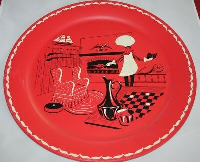 """Oversize Tin Litho Barbeque Chef 19"""" Stoyke Mid Century Serving Tray Red Black"""