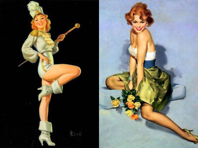 Risque Pin-Up Girl 2 Postcard Lot #2 Al Buell Art Marching Drum Major Top Date