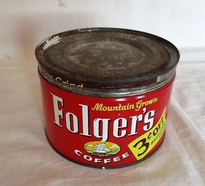 RARE 1959 Folger's 3c OFF Mountain Grown 1 Pound Coffee Tin Can