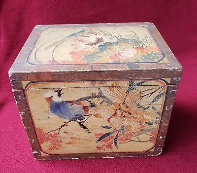 antique-Japanese Decorated Hand Dovetailed & Painted Box w/Bluejay Bird