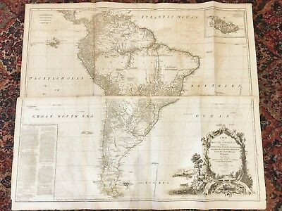 BEST 18th Cent. ORIGINAL 1775 Wall Map of SOUTH AMERICA Sayer- London