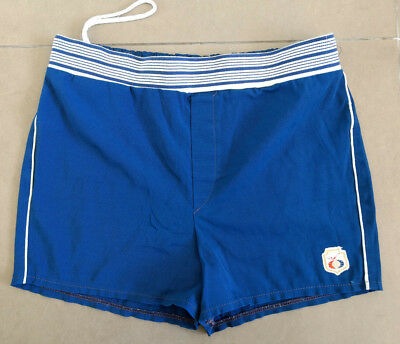 W38 VINTAGE 1950s 60s JANTZEN MEN'S BLUE SWIMMING TRUNKS EXPANDABLES MADE IN USA