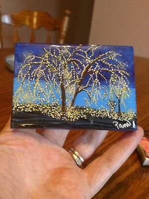 Mini Art  on canvas ,Signed by artist, Epoxy coating on top.