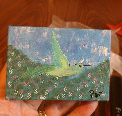 Mini Art  on canvas ,Signed by artist,  Humming Bird.