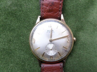 Avia 9 Carat Gold 50's/60's Mens Wristwatch Made By Smiths Scw 17 Jewels