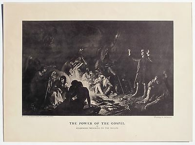Old Lithograph of PAFA Artist Christian Schussele 's Native Amer*can Painting