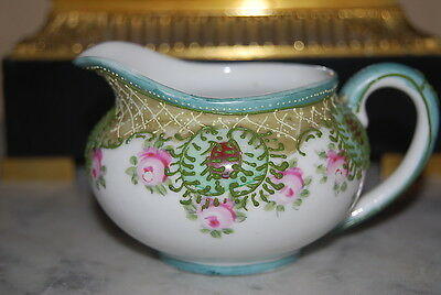 Old Beautiful Vintage Japanese Creamer Done With Roses And Raised Decorations