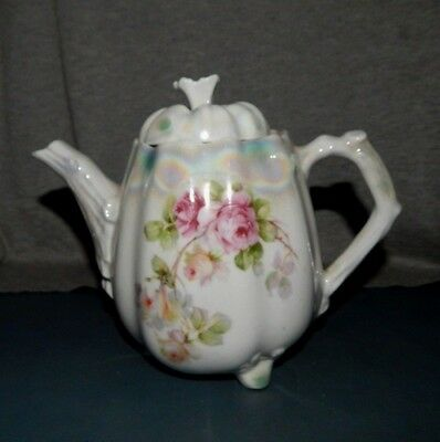 """Antique """"GERMANY"""" TEAPOT w PINK ROSES Porcelain with Luster Finish 7"""" c"""