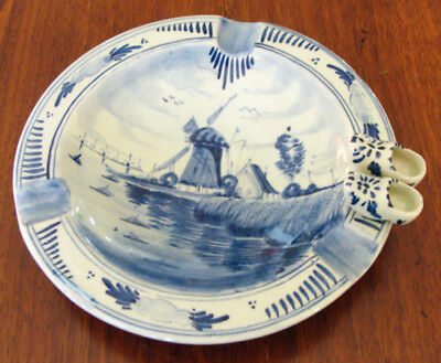 """Vintage Delft Blue Ashtray Clog Shoes & Windmill 4"""" Hand Painted 3 Slot!"""