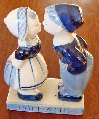 Vintage Holland (Delft Blue Style) Hand Painted Kissing Dutch Girl and Boy!