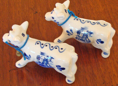 Vintage Delft Blue Hand Painted Cow Salt & Pepper Shakers With Cow Bells!