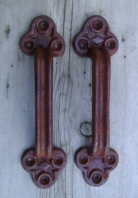 Set of 2 Large Cast Iron Barn Door Gate Pull Handle Natural Rust Brown Finish