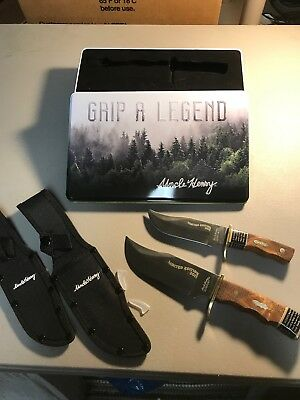 Schrade Uncle Henry Pro Hunter Bowie 2 Set Knife Wood Hdl 2017 Gift Tin UHP1729