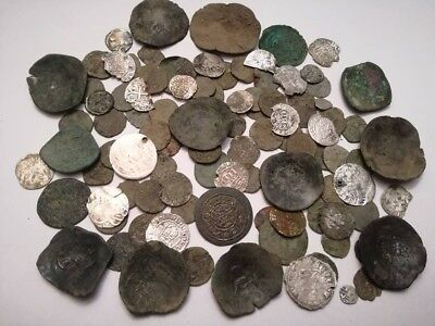 Lot of 100 medieval 12-17 century huge coins (Hungary, Byzantine,Germany,Otoman