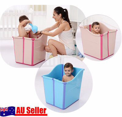 Large Foldable Baby Toddlers Kids Bath Tub Water to Chest Bubble Bathtub NEW