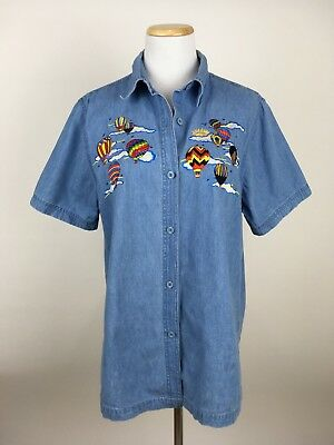 VTG Hot Air Balloon Embroidered Denim Chambray Shirt SMALL Rainbow Novelty Shirt