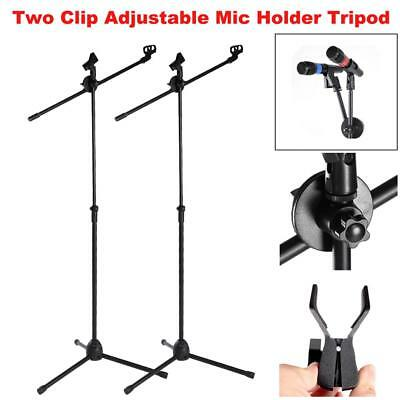 2Pcs Telescopic Boom Microphone Stand Adjustable Dual Mic Holder Tripod 1 to 2M