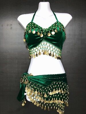 Belly Dancing Gold Coin Bra Hip Skirt Wrap Dance Costume Scarf Bellydancing