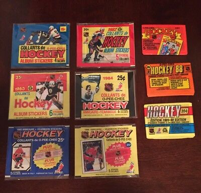 O-Pee-Chee OPC Wax Sticker Packs Complete Set 1981-1989 Unopened