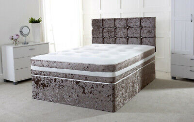 New Crushed Velvet - Divan Bed Base - Under Storage Drawers - Small Double King
