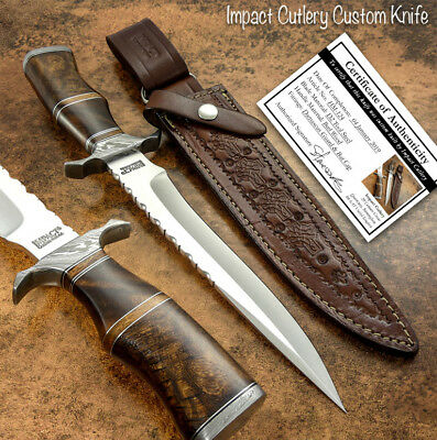 Hand Made By Impact Cutlery Rare Custom D2 Bowie Knife Burl Wood Handle
