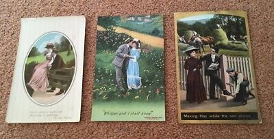 3 genuine antique postcards with courting couples