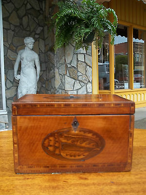 Outstanding Antique Mahogany Tea Caddy With Grand Inlay 19th century