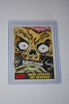 Martian Sketch Card-2017 Topps Mars Attacks The Revenge-Unknown Artist-1/1