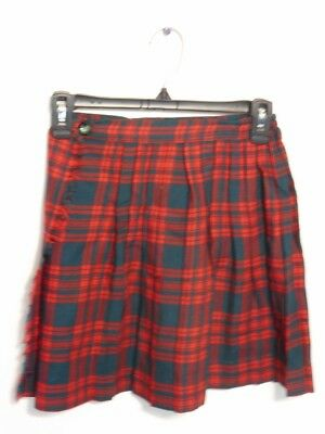 Vintage Wool Skirt Red Navy  Plaid Stay Pleat by Teachers Pet