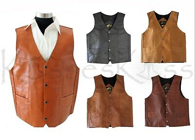 NEW Western Leather Vest Genuine Cowhide Outback Biker Snap Cowboy Mexico Unisex